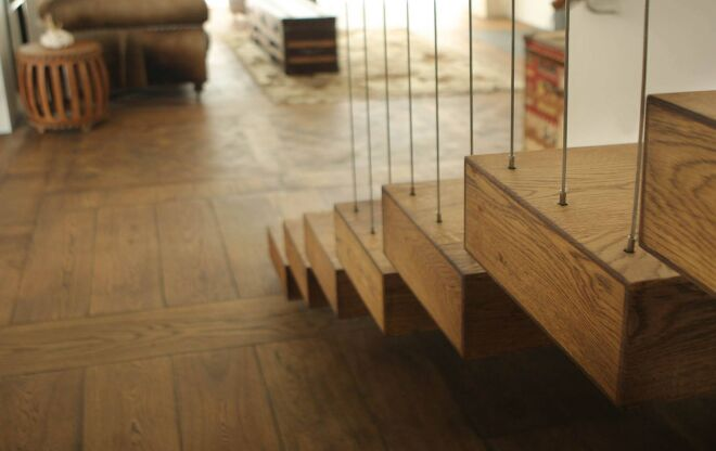 Broad Beach Parquet Recycled Timber Oak Stairs