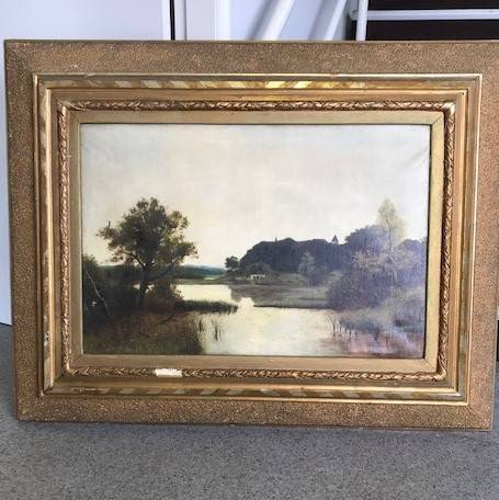 Painting with bold gold frame